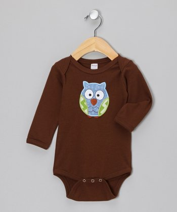 Brown & Blue Owl Bodysuit - Infant