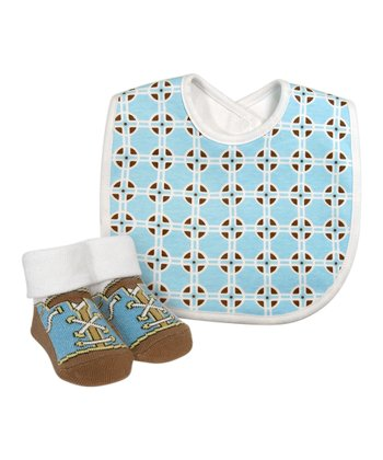 Blue Geometric Bib & Booties