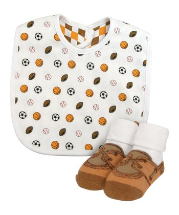 White Sports Bib & Brown Booties