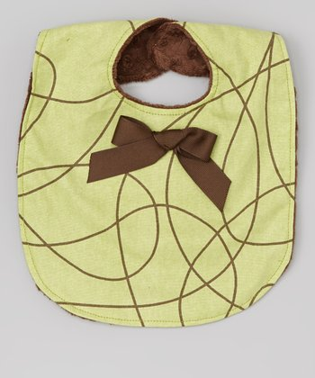 Swirly Green Bow Bib