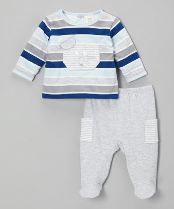 Gray Stripe Top & Footie Pants - Infant