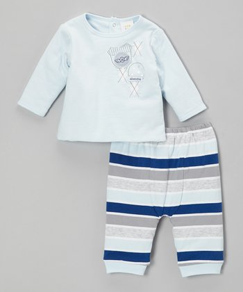 Blue Top & Stripe Pants - Infant