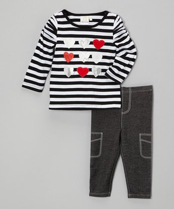 Black Stripe Heart Top & Denim Leggings - Infant & Toddler