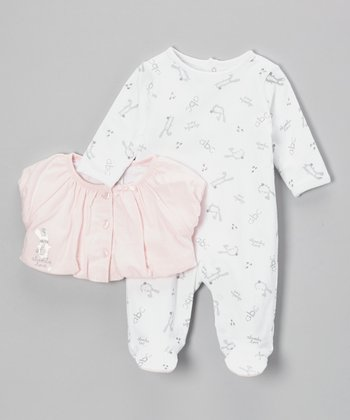 White 'ABC' Footie & Pink Ruffle Cardigan - Infant