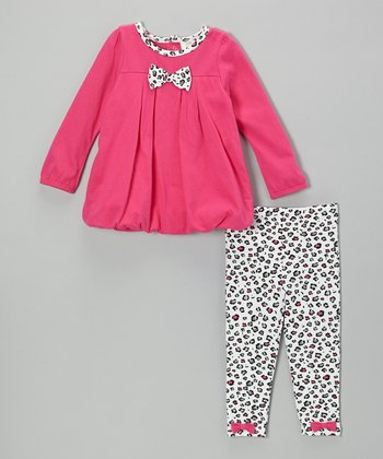 Dark Pink Leopard Tunic & Leggings - Toddler