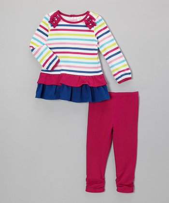 Rainbow Stripe Ruffle Tunic & Pink Leggings - Infant