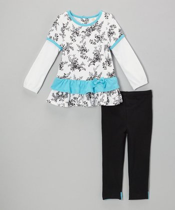 White & Blue Floral Layered Tunic & Black Leggings - Infant & Toddler