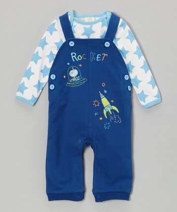 Absorba Navy Star Bodysuit & 'Rocket' Overalls - Infant