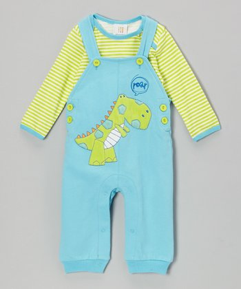 Green Stripe Bodysuit & Teal Dinosaur Overalls - Infant