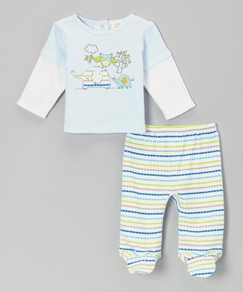 Blue Elephant Layered Top & Stripe Footie Pants