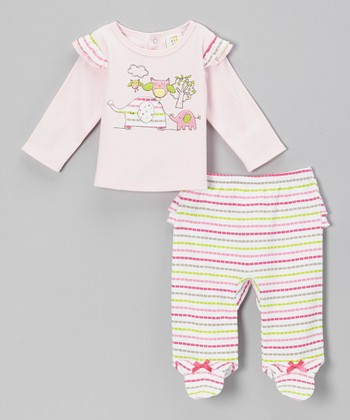 Pink Elephant Top & Stripe Footie Pants