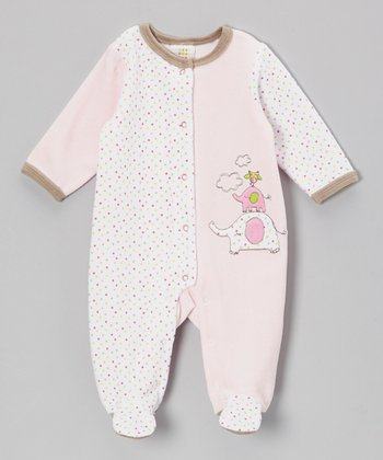 Pink Polka Dot Elephant Velour Footie - Infant