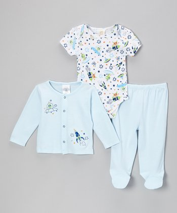 Blue Rocket Cardigan Set - Infant