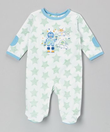 White & Green Robot Footie - Infant