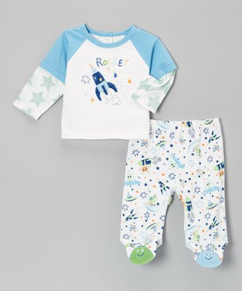 Blue 'Rocket' Layered Top & Footie Pants