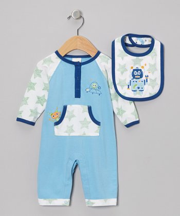 Blue Robot Playsuit & Bib