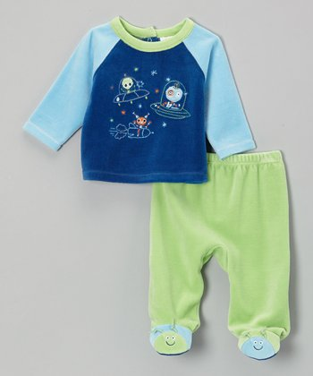 Green & Blue Alien Velour Raglan Top & Footie Pants