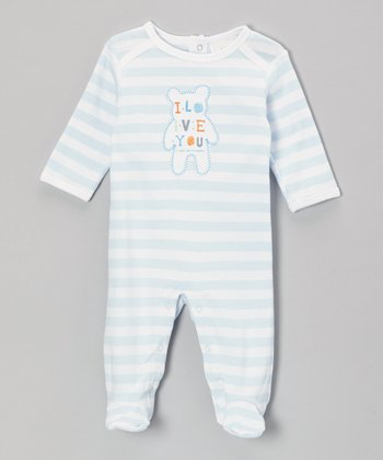 Blue Stripe 'I Love You' Footie - Infant