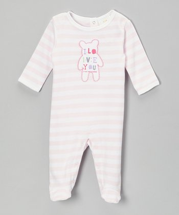 Pink Stripe 'I Love You' Footie - Infant