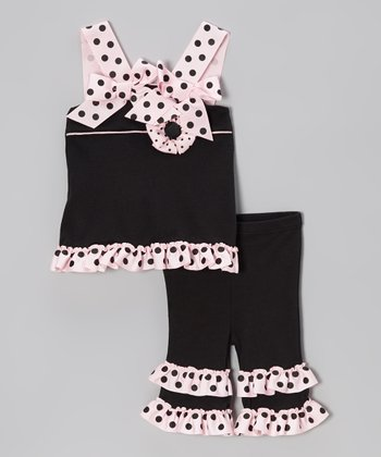 Black & Pink Polka Dot Ruffle Tunic & Capri Leggings - Infant