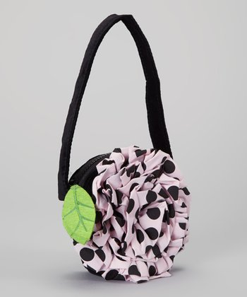 Black & Pink Polka Dot Ruffle Flower Purse