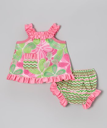 Pink & Green Ruffle Swing Top & Bloomers - Infant