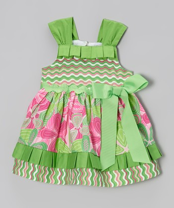 Green & Pink Lil' Sprout Ruffle Dress - Infant & Toddler