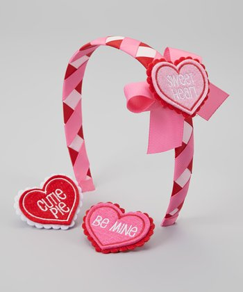 Pink & Red Heart Snap Headband Set