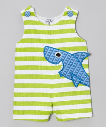Green Stripe Shark Shortalls - Infant