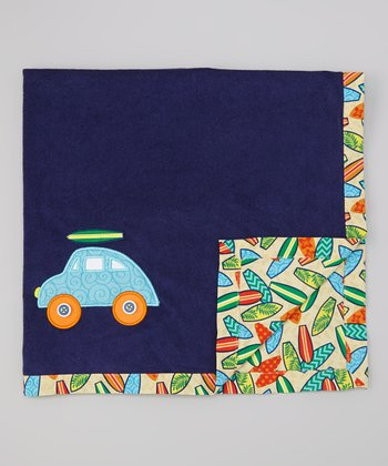 Blue & Tan Surfboard Stroller Blanket
