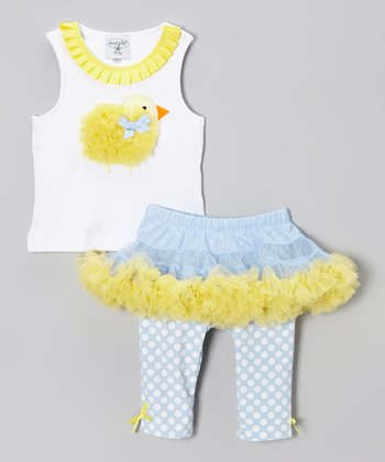 Yellow Chick Ruffle Tunic & Blue Polka Dot Skirted Leggings - Toddler