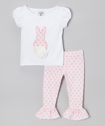 Pink Lattice Bunny Tee Set - Infant & Girls