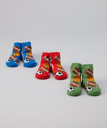 Red, Blue & Green Sports Socks Set