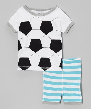 White Soccer Tee & Blue Stripe Shorts - Infant