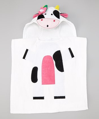 White Cow Hooded Bath Poncho