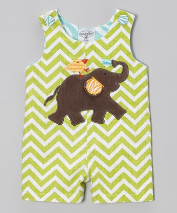 Green Zigzag Elephant & Chick Shortalls - Infant & Toddler