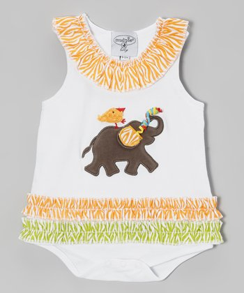 Orange & Green Elephant Bodysuit - Infant