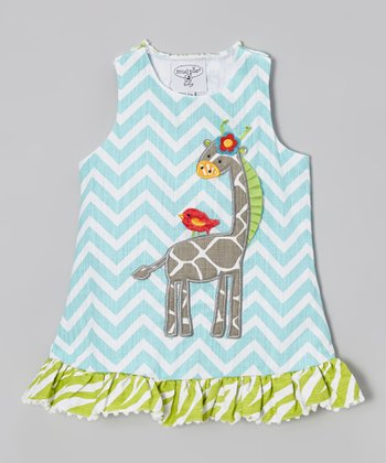 Blue Giraffe Zigzag Racerback Dress - Infant & Toddler