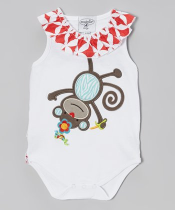 White & Red Monkey Racerback Bodysuit - Infant
