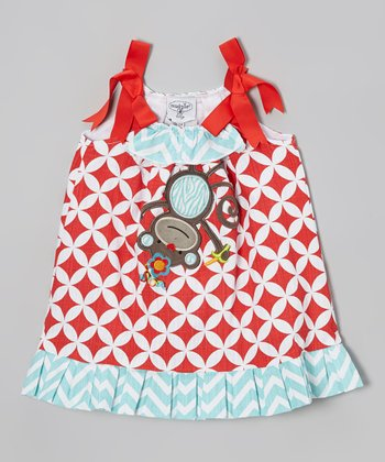 Red & Blue Monkey Bow Dress - Infant