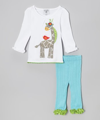White Giraffe Tunic & Blue Cable-Knit Leggings - Infant