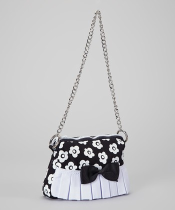 Black & White Flower Pleated Ruffle Purse