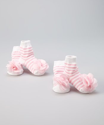 Pink Stripe Stacy Socks - Set of Two