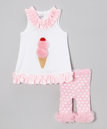 Pink Ice Cream Tunic & Polka Dot Leggings - Infant