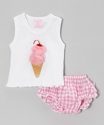 White Ice Cream Tank & Pink Gingham Bloomers - Infant