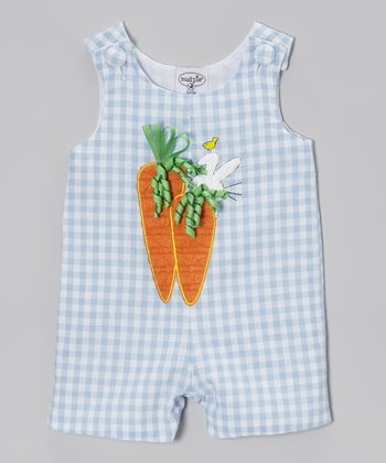 Blue Bunny Gingham Shortalls - Infant
