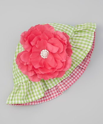 Green Gingham Reversible Sunhat & Pink Gem Flower Clip