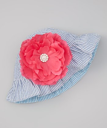 Blue Seersucker Reversible Sunhat & Hot Pink Gem Flower Clip