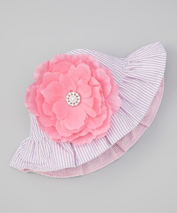 Purple Seersucker Reversible Sunhat & Pink Gem Flower Clip