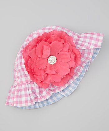 Pink Gingham Ruffle Reversible Sunhat & Hot Pink Gem Flower Clip